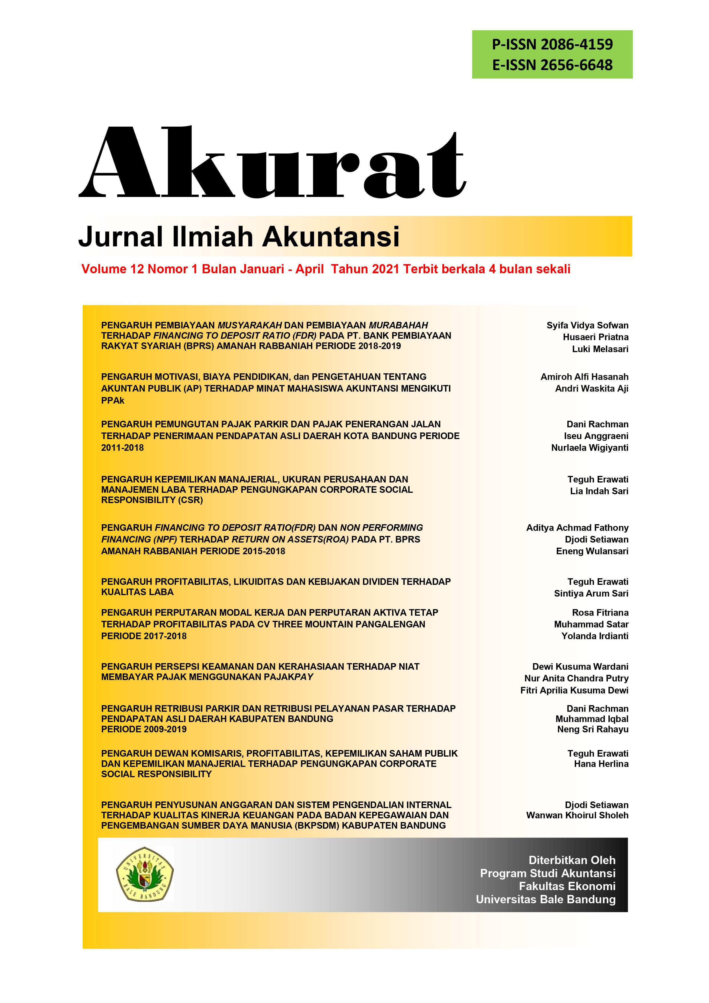 View Vol. 12 No. 1 (2021): AKURAT Edisi Januari - April 2021 | Jurnal Ilmiah Akuntansi FE UNIBBA