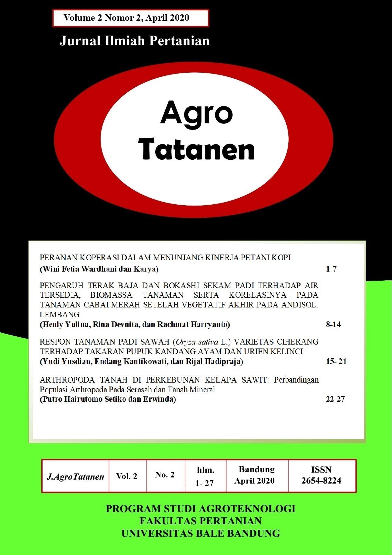 View Vol. 2 No. 2 (2020): AGRO TATANEN Edisi April 2020 | Jurnal Ilmiah Pertanian