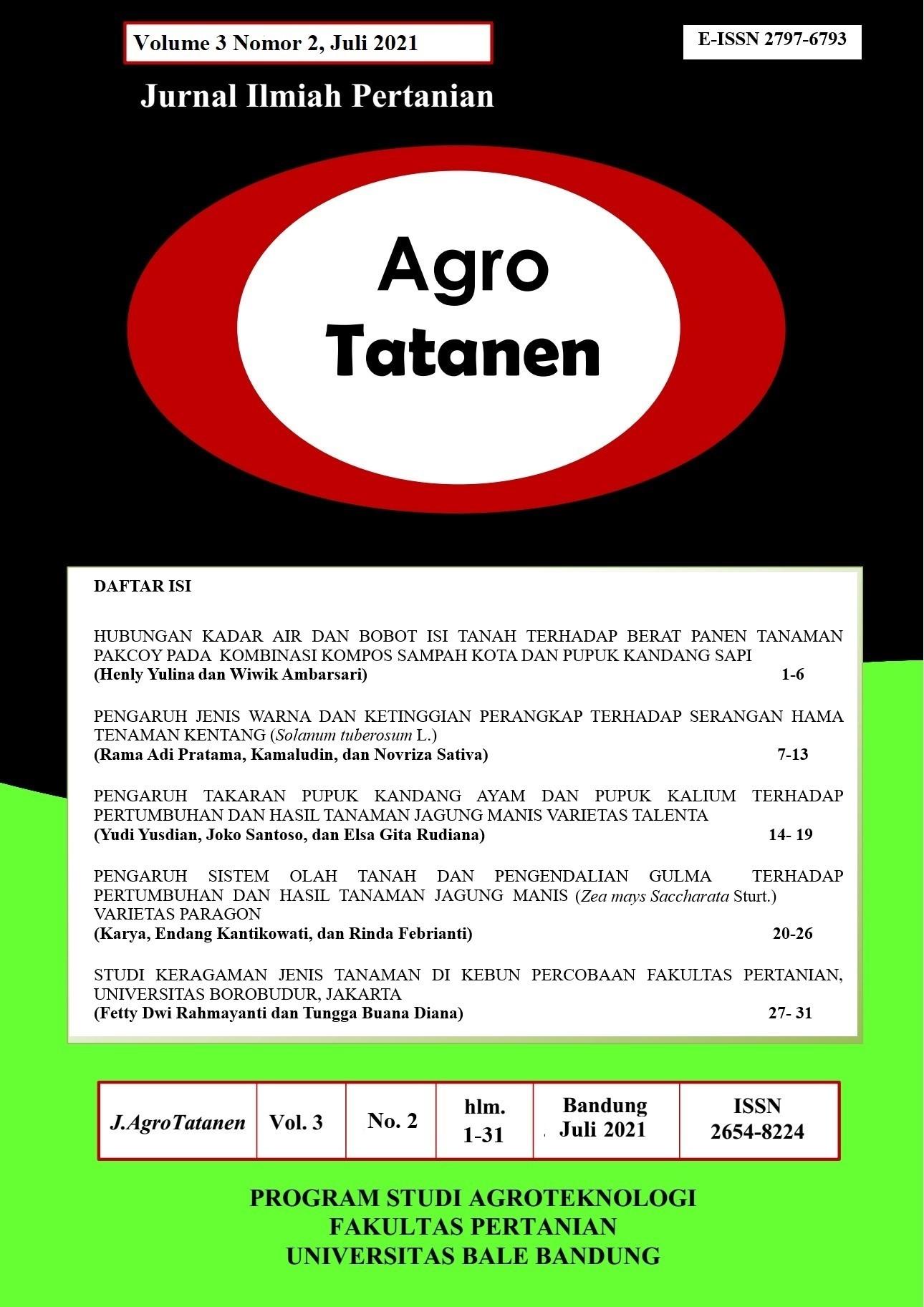 View Vol. 3 No. 2 (2021): AGRO TATANEN Edisi JULI 2021 | Jurnal Ilmiah Pertanian