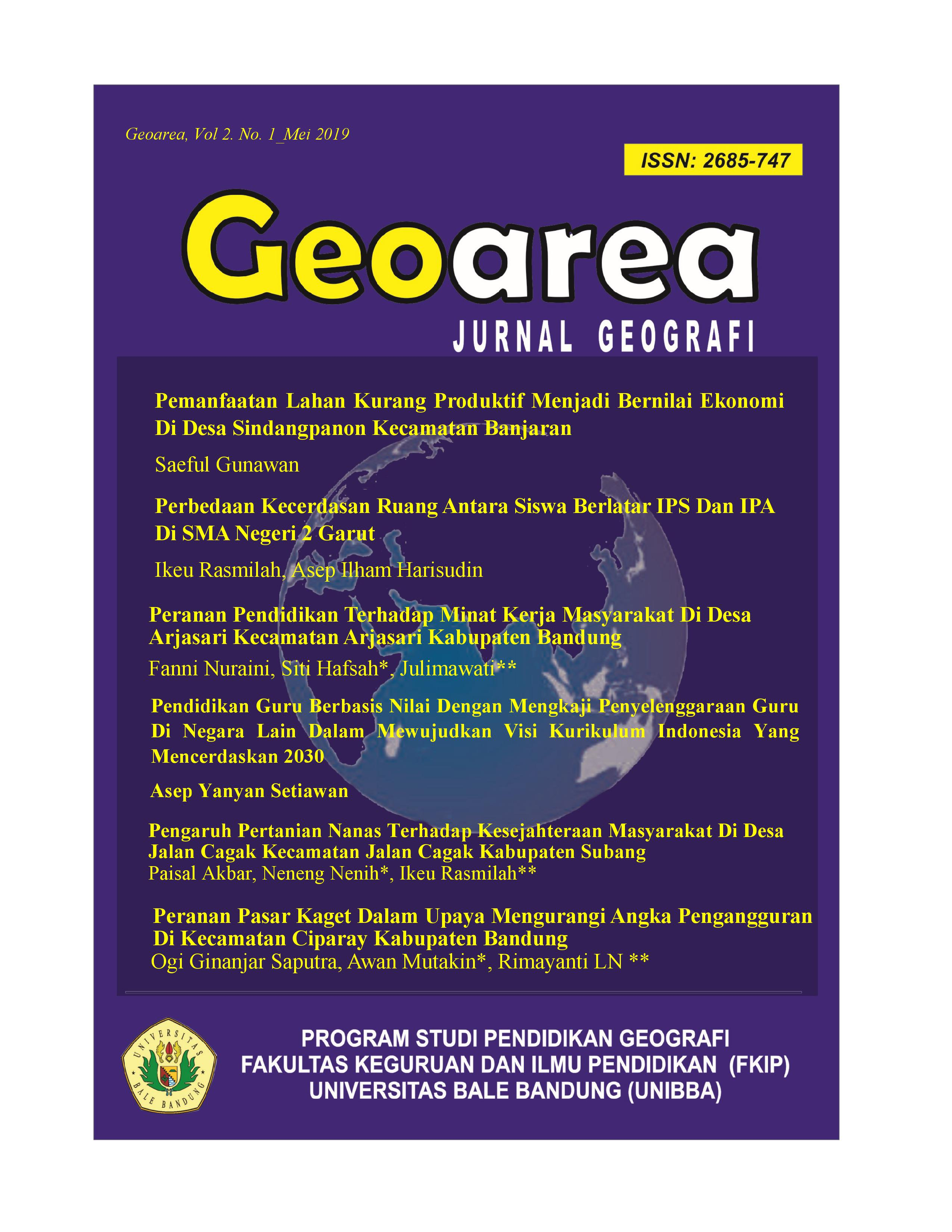 View Vol. 2 No. 1 (2019): GEOAREA | Jurnal Geografi Edisi Bulan Mei 2019