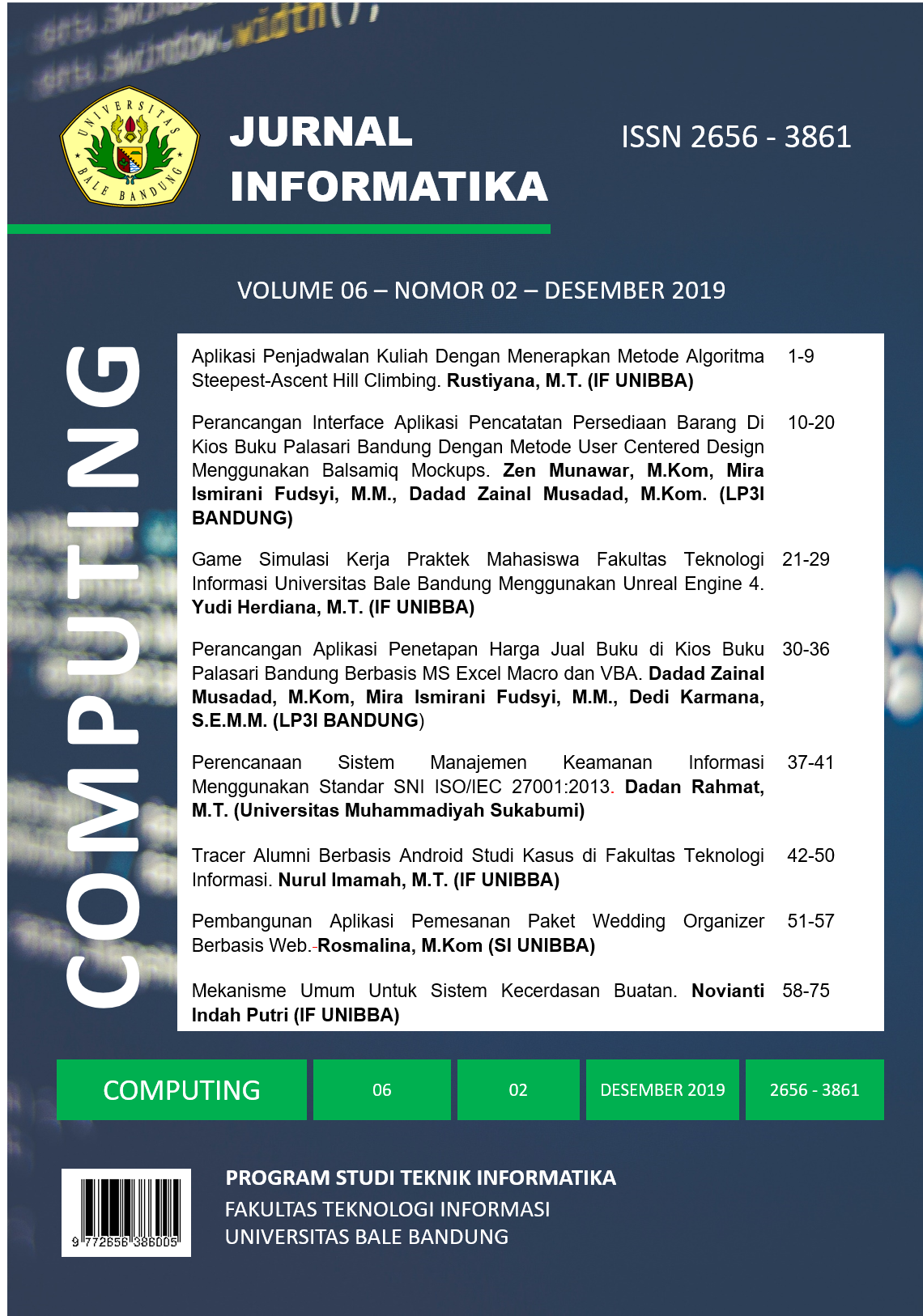 Jurnal Informatika COMPUTING Vol 6 No 2 Desember 2019 ISSN 2656-3861