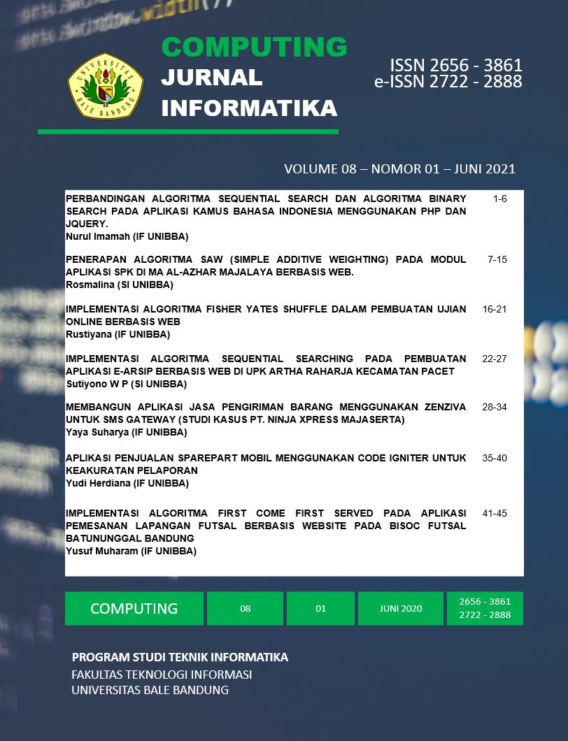 View Vol. 8 No. 01 (2021): COMPUTING Edisi Bulan Juni 2021| Jurnal Informatika