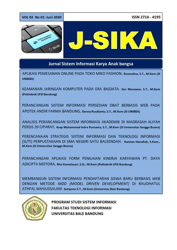 View Vol. 2 No. 01 (2020): J-sika edisi bulan Juni 2020/jurnal sistem informasi karya anak bangsa