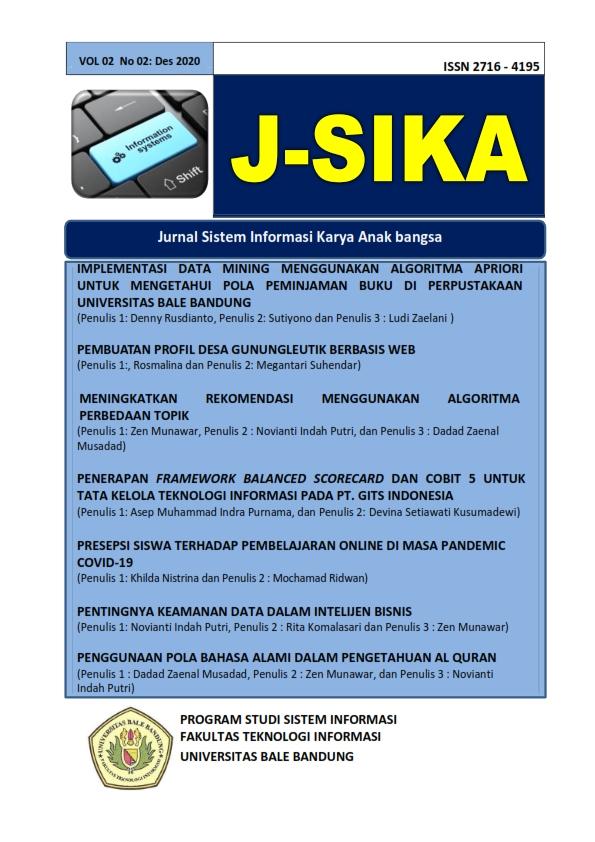 View Vol. 2 No. 02 (2020): J-SIKA Edisi Desember 2020 |Jurnal Sistem Informasi Karya Anak Bangsa
